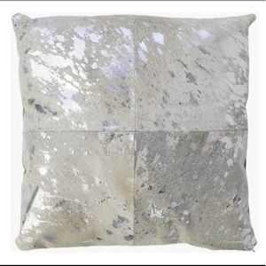 Calypso St. Barth Cowhide Silver Pillow case 19x19